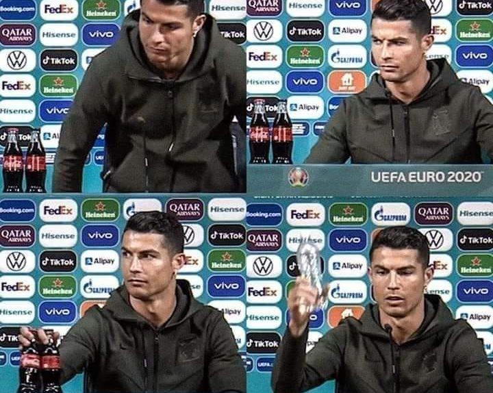 क्रिस्टियानो रोनाल्डो ने यूरो चैम्पियनशिप के एक मैच के बाद हुई प्रेस कांफ्रेंस में अपने सामने रखीं कोकाकोला